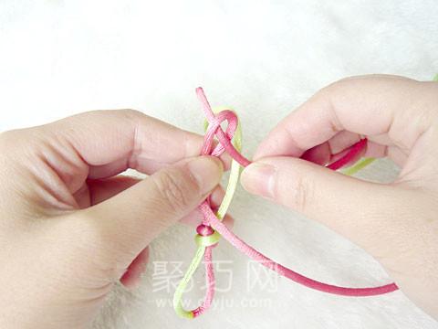 中国结之酢浆草花结编法图解第3步