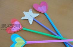 折紙心形魔法棒教程 教你如何折巴啦啦小魔仙魔法棒