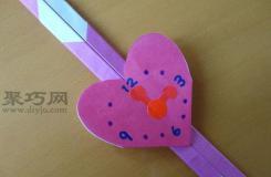 心形手表折紙圖解教程 教你如何折紙心形手表