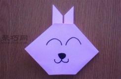 兒童折紙卡通小兔子圖解教程 用紙折小兔子的折法