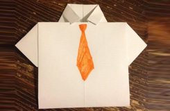 折纸衣服教程 带领带衬衫折纸教程