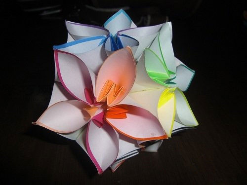 如何折花球:五瓣花球的折法图解