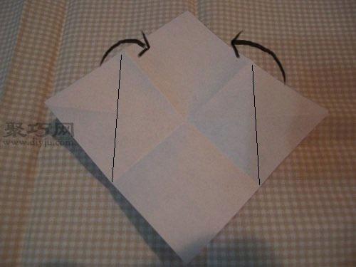 如何折花球:五瓣花球的折法图解第2步