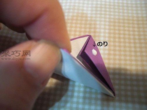 如何折花球:五瓣花球的折法图解第4步