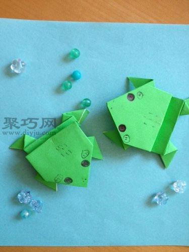 手工折纸 动物折纸  还记得小时候和小伙伴经常比赛谁折的纸青蛙跳的
