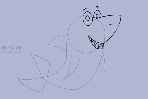 可爱的卡通鲨鱼怎么画 6