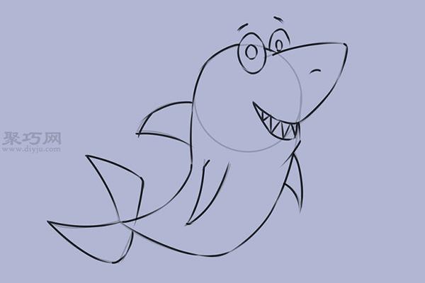 可爱的卡通鲨鱼怎么画 8