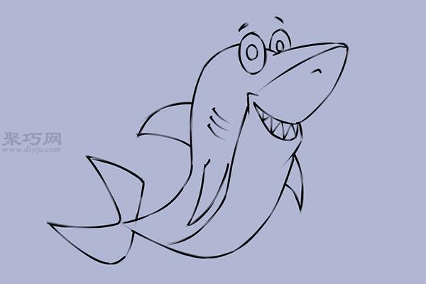 可爱的卡通鲨鱼怎么画 10
