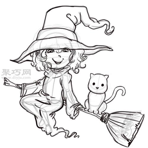 漫画卡通小魔女的画法 教你如何画小女巫 6 21