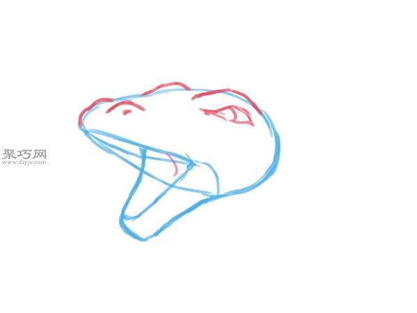 手绘以蛇的头部为原型的龙头画法图解 15