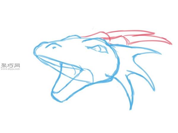 手绘以蛇的头部为原型的龙头画法图解 17