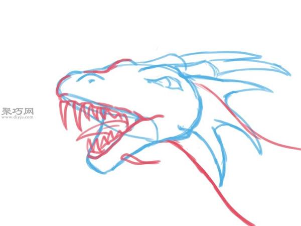 手绘以蛇的头部为原型的龙头画法图解 18