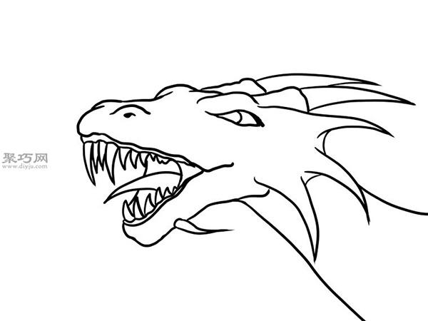 手绘以蛇的头部为原型的龙头画法图解 20