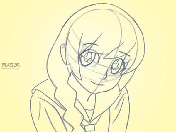可爱的卡通女孩怎么画 5