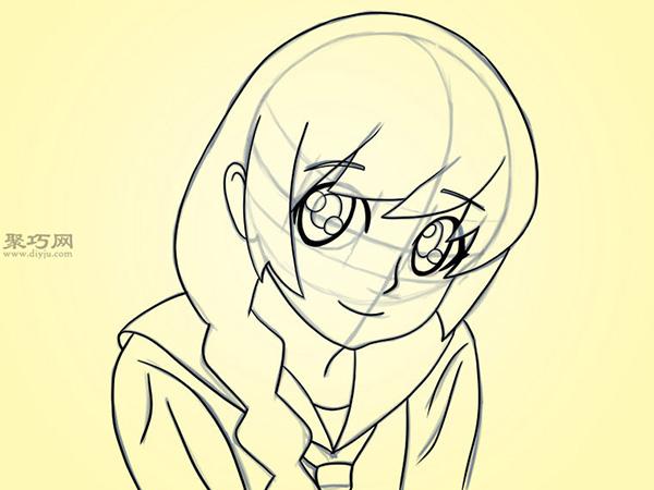 可爱的卡通女孩怎么画 6