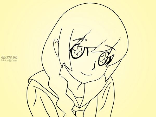 可爱的卡通女孩怎么画 7
