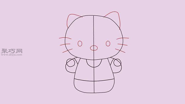 站着的Hello Kitty的画法
