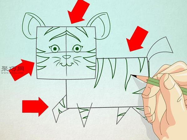 卡通老虎的画法步骤 5