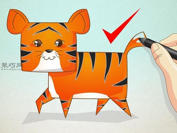 卡通老虎的画法步骤 7