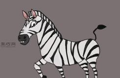 卡通斑马的画法步骤图解 教你如何画可爱的卡通斑马
