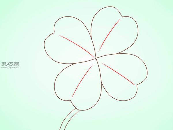 简笔画四叶苜宿草的画法教程 10