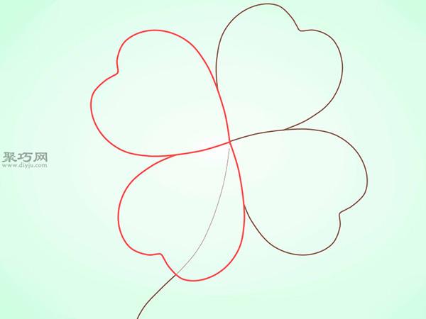 简笔画四叶苜宿草的画法教程 8