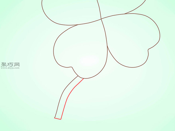 简笔画四叶苜宿草的画法教程 9