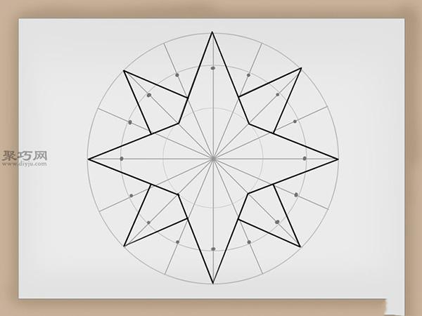罗盘玫瑰的画法步骤 教你如何画罗盘玫瑰 9