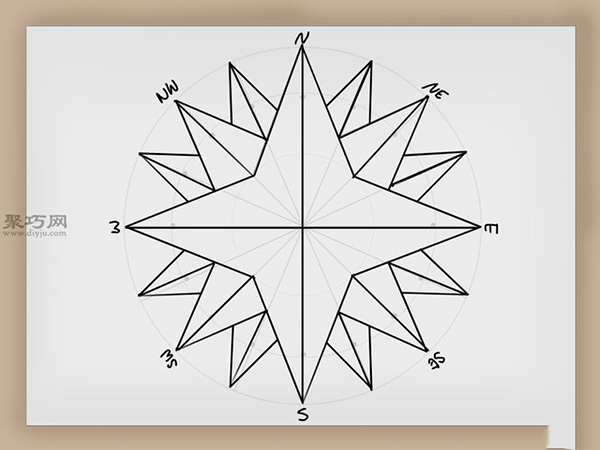 罗盘玫瑰的画法步骤 教你如何画罗盘玫瑰 11