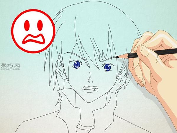 如何画男性漫画人物的正面脸 12
