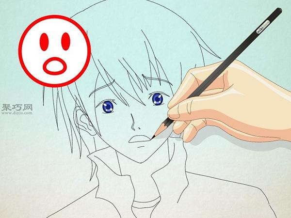如何画男性漫画人物的正面脸 14