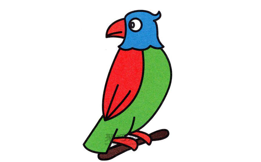 鹦鹉简笔画的画法