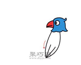 鹦鹉简笔画的画法步骤3