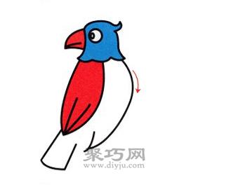 鹦鹉简笔画的画法步骤4