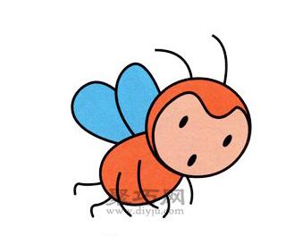 蜜蜂简笔画的画法步骤6