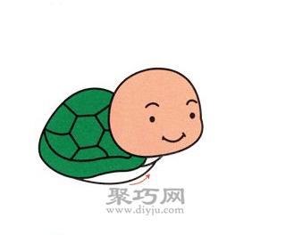 小乌龟简笔画的画法步骤4