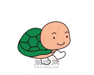 小乌龟简笔画的画法步骤5