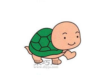 小乌龟简笔画的画法步骤6
