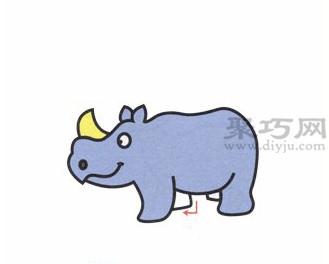 犀牛简笔画的画法步骤5