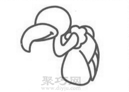 卡通秃鹫简笔画的画法步骤3