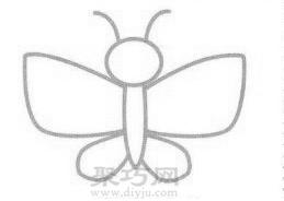 花蝴蝶简笔画的画法步骤3