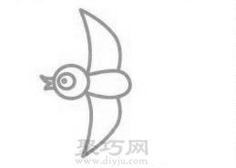 小燕子简笔画的画法步骤3