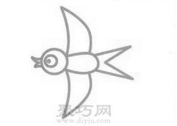 小燕子简笔画的画法步骤4