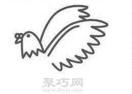 鸽子简笔画的画法步骤3