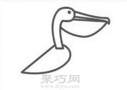 鹈鹕简笔画的画法步骤2