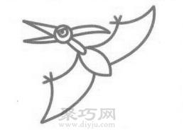 翼龙简笔画的画法步骤4