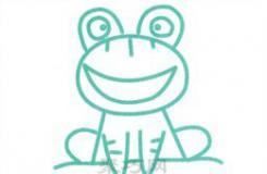 蹲坐的大眼睛青蛙画法 非常适合幼儿的简笔画教程