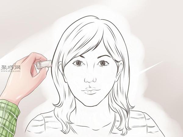 女性脸部素描画法教程 12
