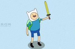 画芬的经典形象的步骤 教你画探险活宝中的Finn画法
