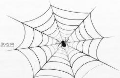 完整的蜘蛛网的画法 一起学画蜘蛛网步骤